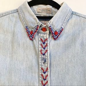 Vintage J. Crew Outfitter Denim Beaded Button Down